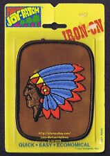 LMH PATCH Badge  INDIAN CHIEF HEADDRESS  Head Dress Feathers Leather  JOY-PATCH