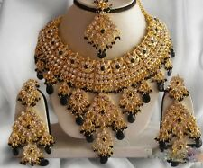 INDIAN JEWELLERY SET BOLLYWOOD GOLD PLATED KUNDAN JEWELLERY BLACK GOLD NEW