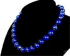 Genuine 10mm Blue Lapis lazuli Round Gemstone necklace 18''