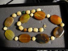 "BIG MULTICOLOR POLISHED ONYX BEAD NECKLACE 26-28"" NEW NWOT  GREEN BROWN BUTTERSC"