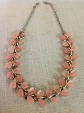 Vintage Signed Lisner Pink & Rhinestone Lucite Thermoset Necklace