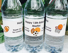 20 PERSONALIZED SPORTS Birthday Party Waterproof WATER BOTTLE LABELS for Favors!