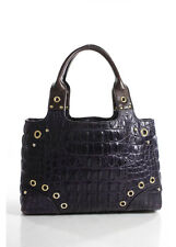 CAR SHOE Purple Mock Crocodile Gold Tone Double Handle Structured Tote Handbag