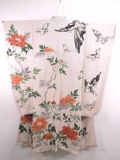 12v1744 Vintage Japanese Kimono FURISODE Chirimen Silk Butterfly