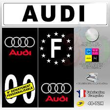 """Stickers Plaque D'immatriculation Fond Noir Logo """"Audi 1"""" 4 pièces 45x100 mm"""
