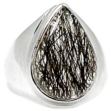 BRUR509 TOURMALATED QUARTZ (BLACK RUTILE) 925 STERLING SILVER RING JEWELRY s.7