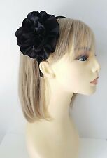 Beautiful black satin headband - aliceband with large ruffled fabric flower