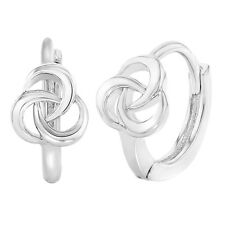 Rhodium Plated Twisted Small Hoop Huggie Girls Teen Earrings 10mm