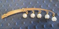 Vintage Art Deco Lucite Moonglow Plastic beads Gold Modern Brooch Pin 40's