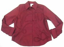 New Coldwater Creek Shirt Top Large Wine Cross Dyed Soutache Embroidery