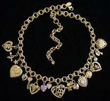 Vintage KIRKS FOLLY Sentimental HEART CHARM NECKLACE~Goldtone~Crystals~RARE,fjt