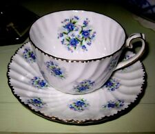 GORGEOUS Gladstone Bone China Cup and Saucer set, FORGET-ME-NOTS, no damage