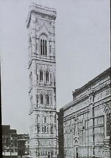 Giotto's Tower, Florence, Italy, Antique Glass Photo Magic Lantern Slide