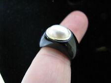 14K Gold BLACK ONYX BAND Modernist Ring Chunky WHITE OVAL PEARL Signet Dome 6.5