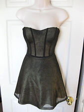 BEBE BLACK GOLD MESH BONDED STRAPLESS FIT FLARE DRESS NEW XSMALL XS