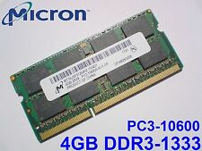 4GB DDR3-1333 PC3-10600 MICRON MT16JSF51264HZ-1G4D1 LAPTOP SODIMM RAM SPEICHER