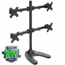 Quad LCD Monitor Desk Stand Heavy Duty Adjustable 4 Screen up to 24""