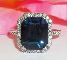 NOS New Sterling Silver Synthetic Blue Stone Ring Halo Sz 7 4.3g Elegant