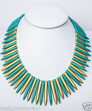 Kenneth Jay Lane satin gold/turquoise spike necklace 18.5""