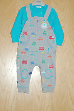 ♡ Next ♡ BNWT Baby Boy Beautiful Jersey Dungarees & Bodysuit set 6-9 Months NEW
