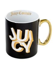 NWT Juicy Couture STACKED JUICY Black Gold Ceramic Mug Hot Cold Cup 14 oz
