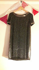 *RARE* Vintage Mango Shift Tunic Deco Dress Black Striped Beaded Sz M UK 8 10 12