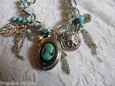 SOMETHING WEDDING Blue Silver Lace Cameo Locket Charm Bracelet Coin Leaf Dove
