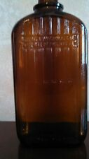 1952 Anchor Hocking Amber Color One Pint Liquor Bottle w Government Restrictions