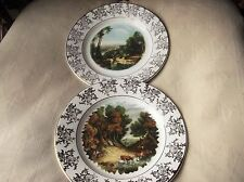 VINTAGE PAIR OF GILDED DISPLAY PLATES ROYAL FALCON WEATHERBY FAMOUS PAINTINGS