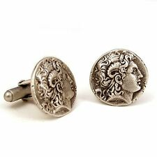 Alexander The Great Greek Coin Cufflinks, Pewter with Antique Silver Finish 3/4""