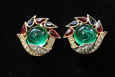 Beautiful Vintage Jewels of India Crown Trifari Earrings Alfred Philippe c1965