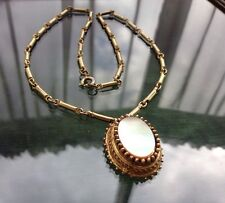 Vintage 50's 60's Signed Florenza Gold Etruscan Style MOP Pendant Necklace