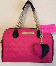 BETSEY JOHNSON BE MINE SPEEDY QUILTED HEARTS FUCHSIA BLACK SATCHEL HAND BAG NWT