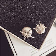 Boucles d`Oreilles Clous Plaqué Or Blanc CZ Ear Jacket Etoile Perle Mariage G1