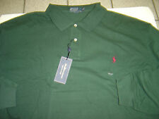 BIG MENS RALPH LAUREN HUNTER GREEN W/BURGANDY POLO L/S MESH POLO SHIRT SIZE 4X