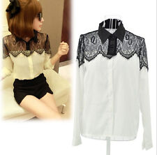 women's Vintage Lace Long Sleeve Button Chiffon Splicing T-shirt Blouse Tops