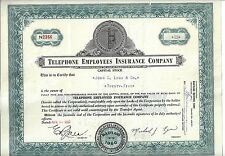 Telephone Employees Insurance Company.1962 Stock Certificate