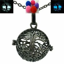 Glow in the Dark Black Tree Locket Necklace Perfume Essential Oil Aromatherapy