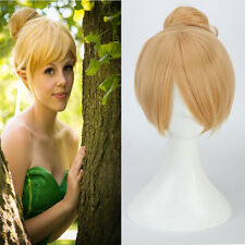 Fairy Tinker Bell Wigs Yellow Short Straight Synthetic Hair Updo Cosplay Women