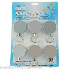 Retractable Recoil Pull Keyring Large Belt Clip Automatically Retrieve Key 100cm