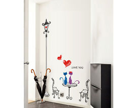 Removable Large Lamp Cats Stairs Wall Sticker Decal Vinyl Art Home Decor Mural