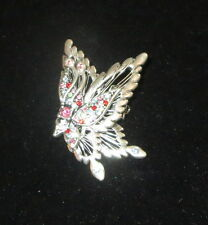 Butterfly Pin Silver Tone Crystal Accents New Brooch Butterflies Pink Green Blue