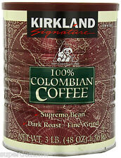Kirkland 100% Colombian Coffee Dark Roast Fine Grind 3 Pounds
