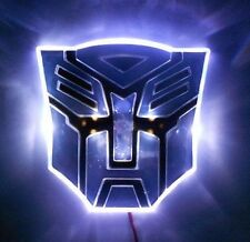 "4"" White LED Transformers Autobot 3D Logo Emblem Badge Car Sticker Decal Light"