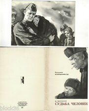 1965 FATE OF A MAN by M.Sholokhov set 16 Russian cards drawings by Kukryniksy