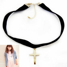 Velvet Cross Necklace Cosplay Choker Chain Ribbon Pendant Decor For Parties HF