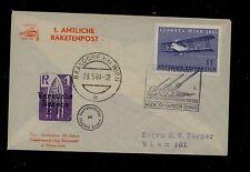 Austria  rocket flight cover  cachet  1961         KL1012