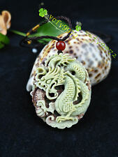 Fashion Natural Jade Dragon Necklace Pendant Chinese Hand-Carved Lucky Amulet