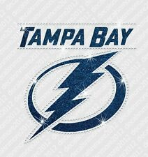 NHL - Tampa Bay Lightning - Bling - Iron-on Glitter Vinyl/Rhinestone Transfer