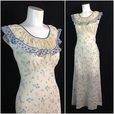 Vintage 1930s Cotton Novelty Bias Cut Lace Sleeveless Nightgown Lingerie XS/S